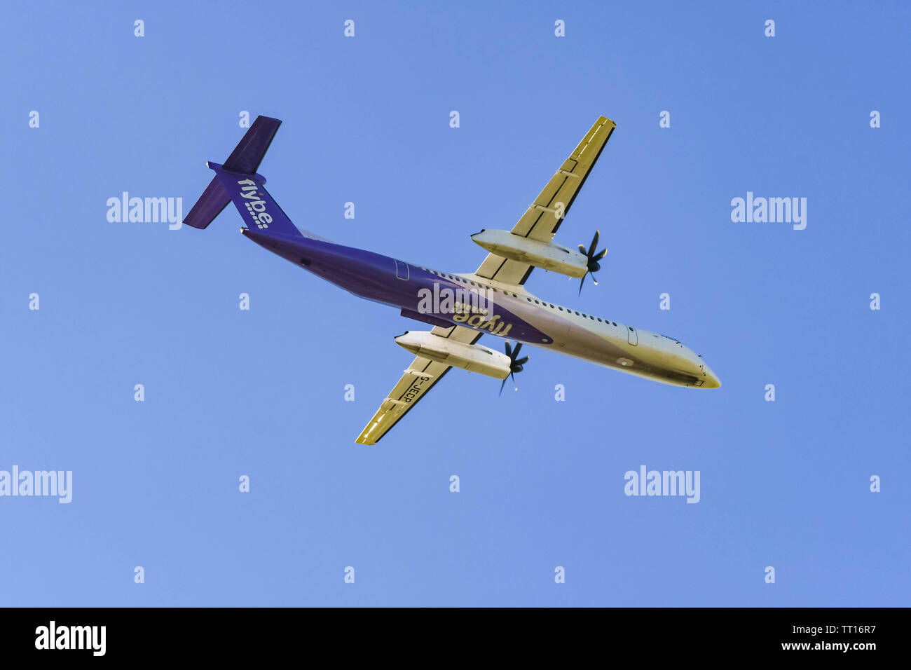 LONDON HEATHROW AIRPORT, ENGLAND - MARCH 2019:  De Havilland Canada DHC-8-402Q Dash 8 turboprop aircraft operated by Flybe leaving London Heathrow Air - Stock Image