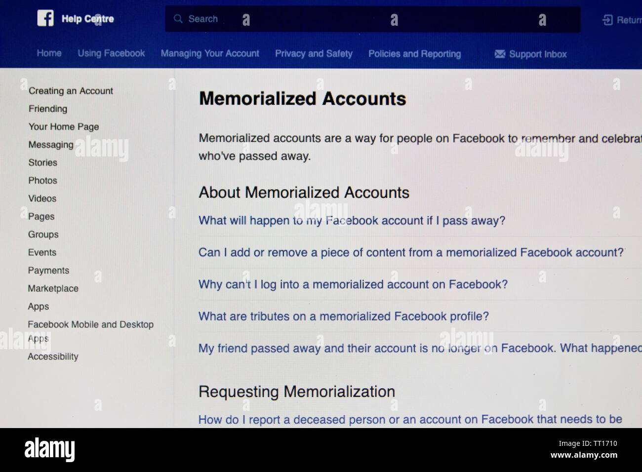Facebook Memoralized Account Stock Photos & Facebook