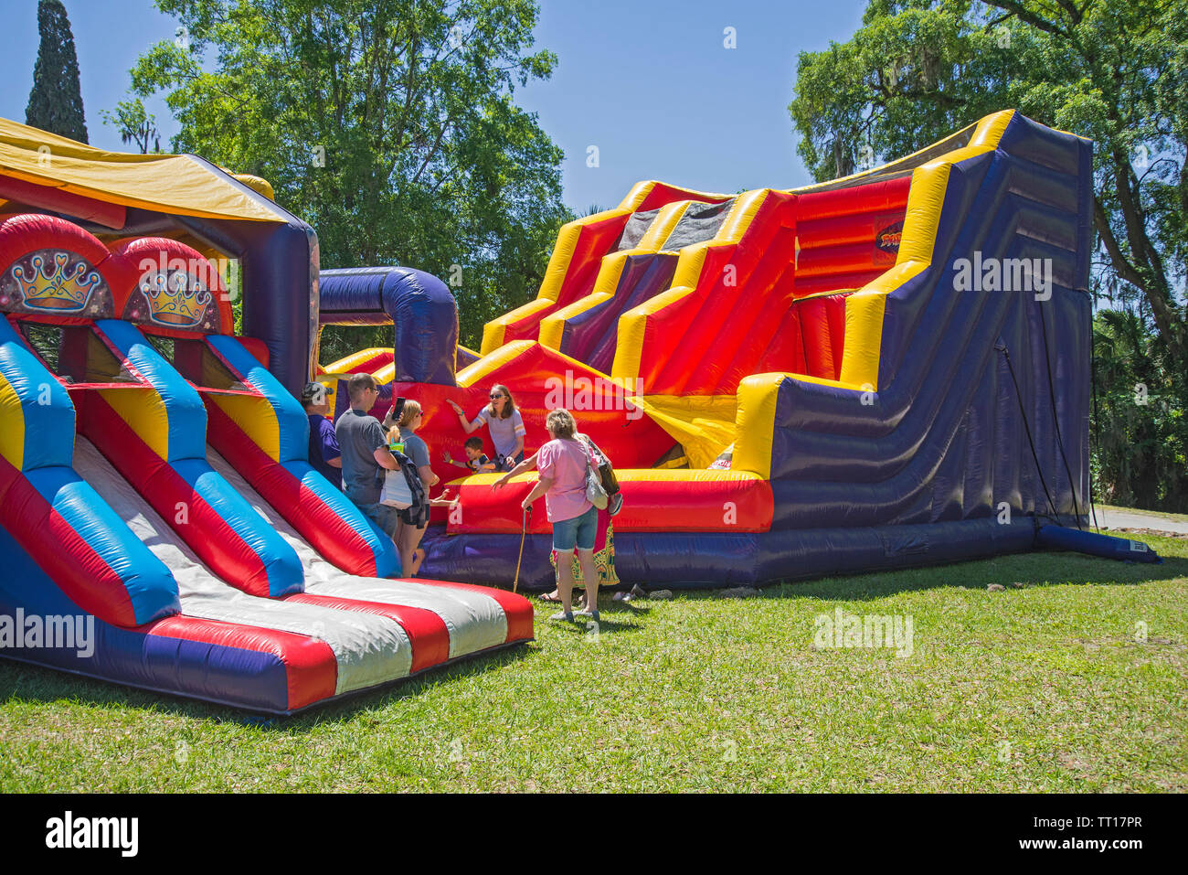 Daredevil Island extreme inflatable at Pioneer Days annual festival in High Springs, Florida. - Stock Image
