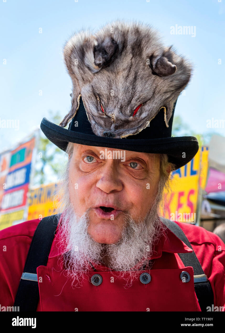 Pioneer Days small town annual celebration in North Central Florida. Man with unique fox pelt covered hat. Stock Photo