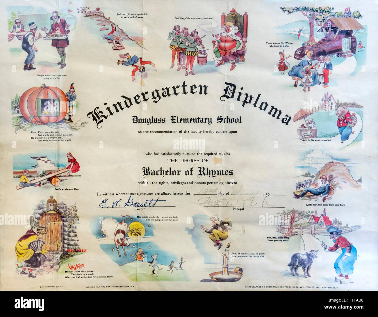 Pioneer Days small town annual celebration in North Central Florida.  An old kindergarten diploma at the historical society. - Stock Image