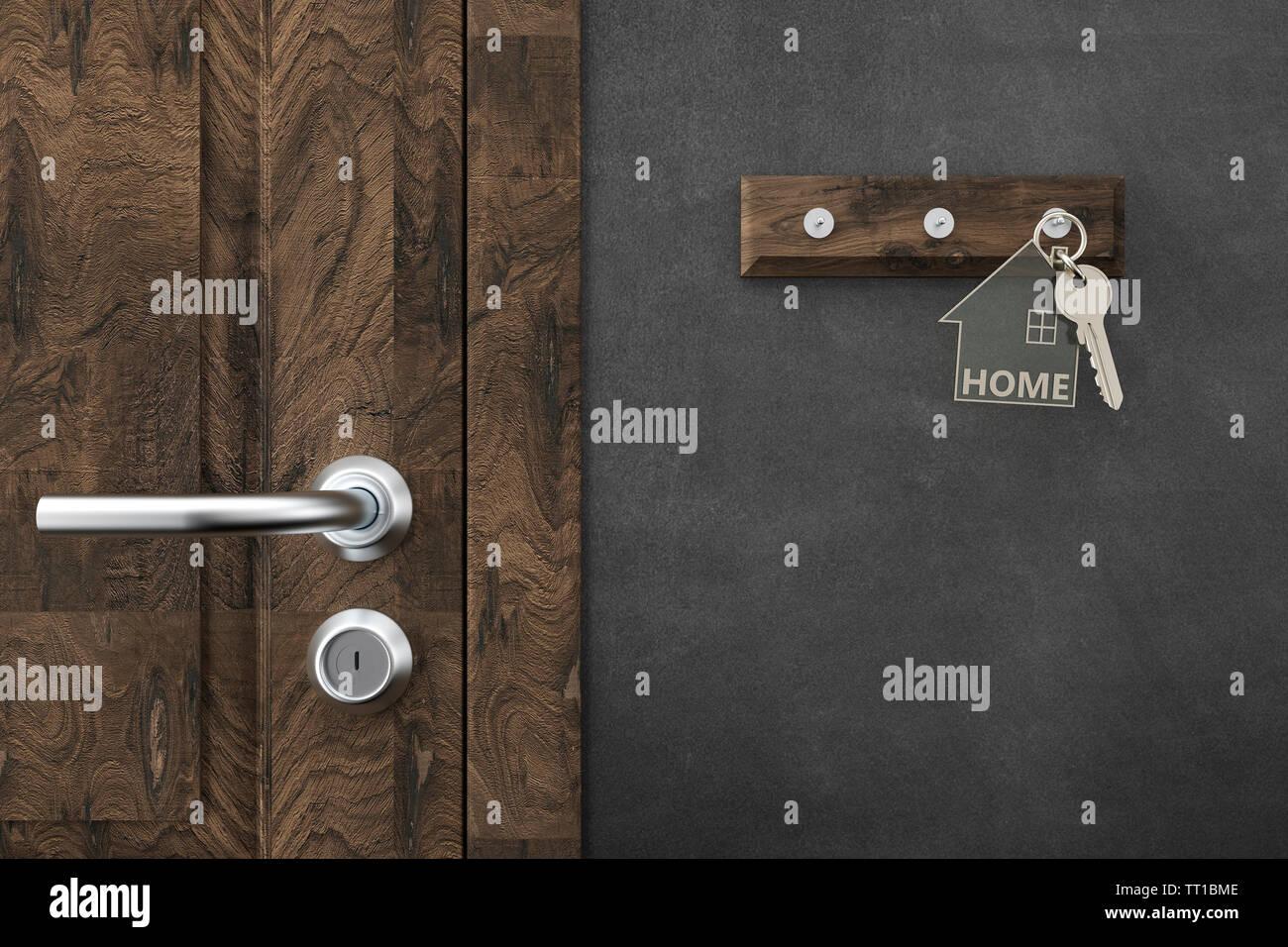 house key with keychains - Illustration - Stock Image