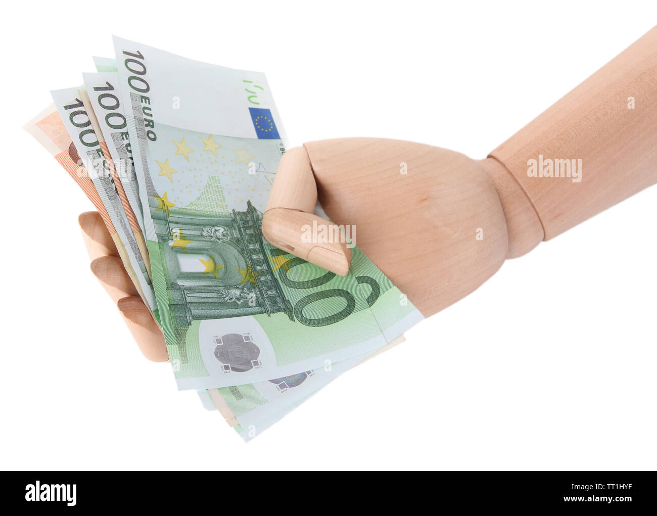 Money in wooden hand, isolated on white - Stock Image