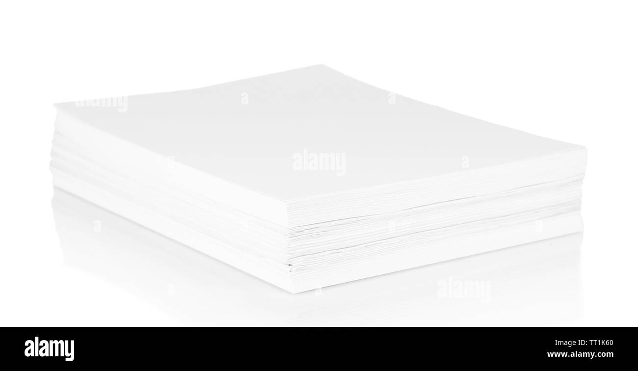 Stack white paper isolated on white - Stock Image