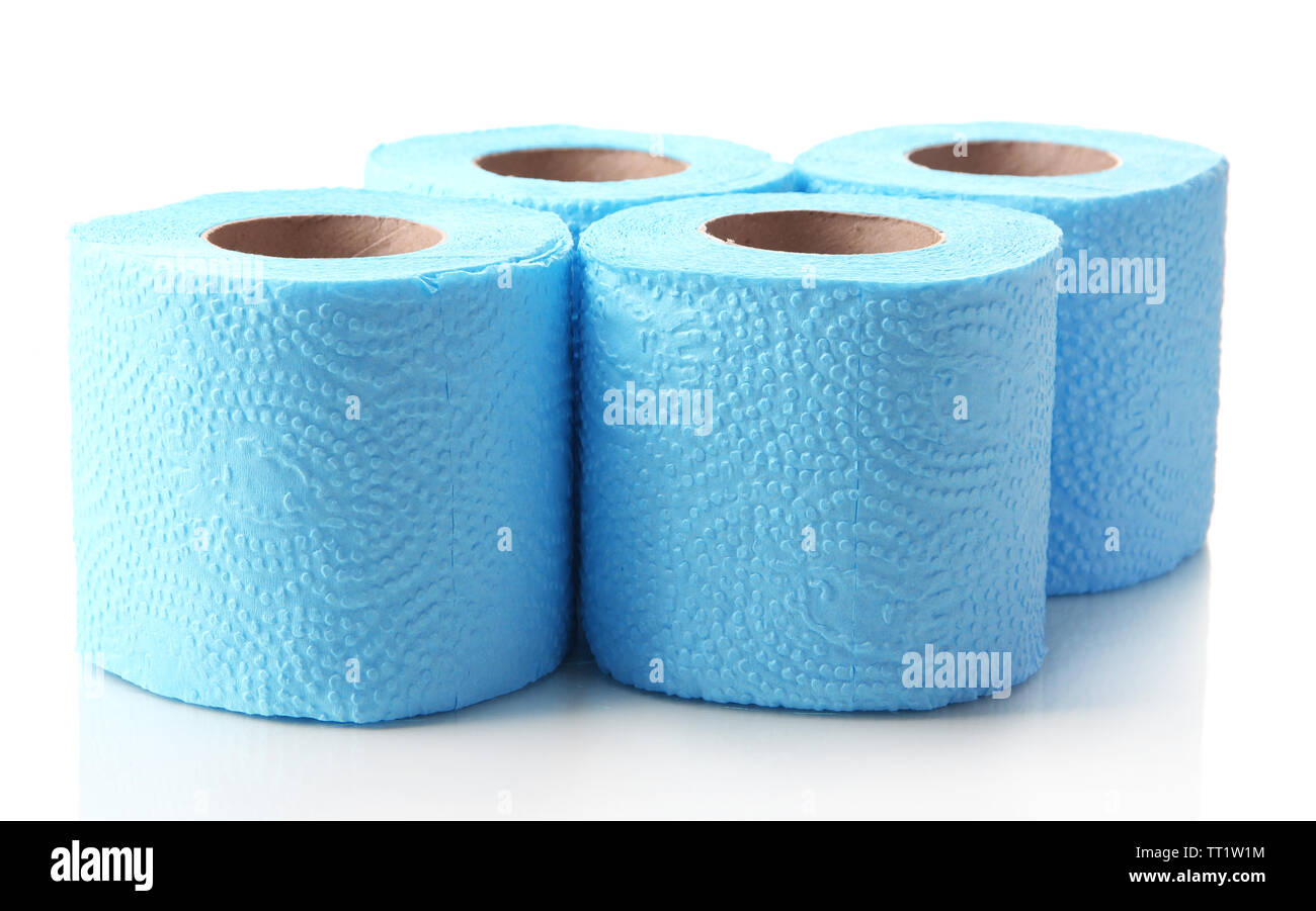 Color toilet paper rolls isolated on white - Stock Image