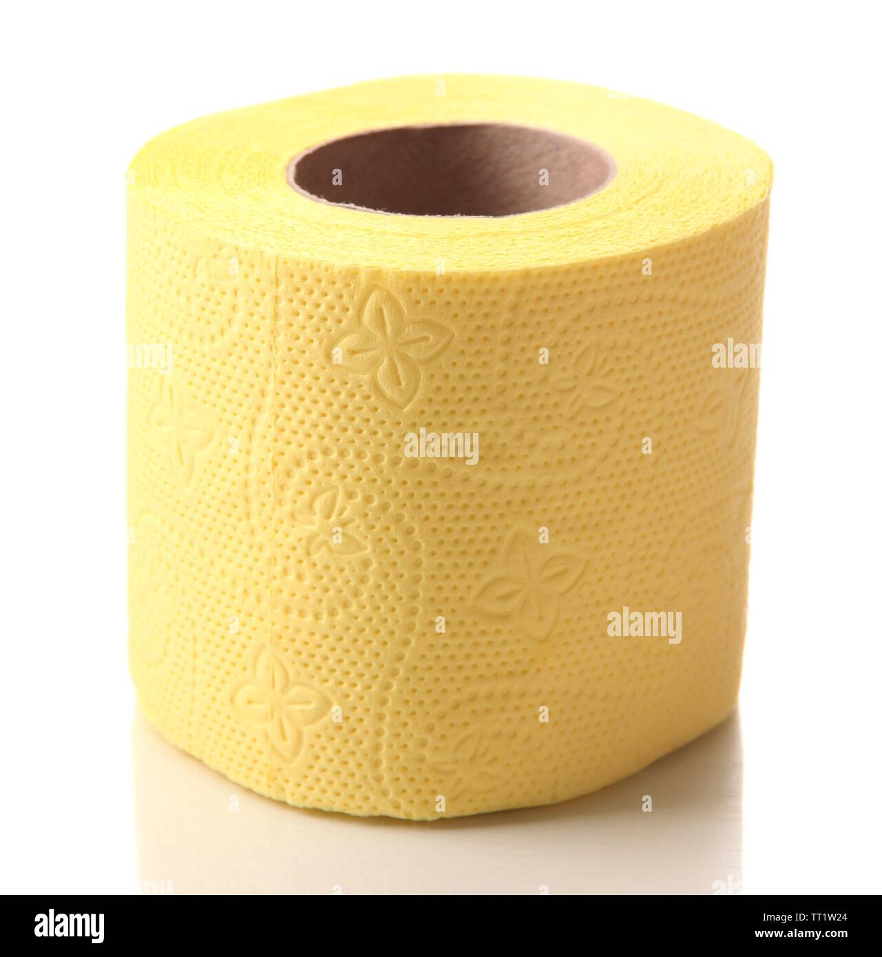Color toilet paper roll isolated on white - Stock Image