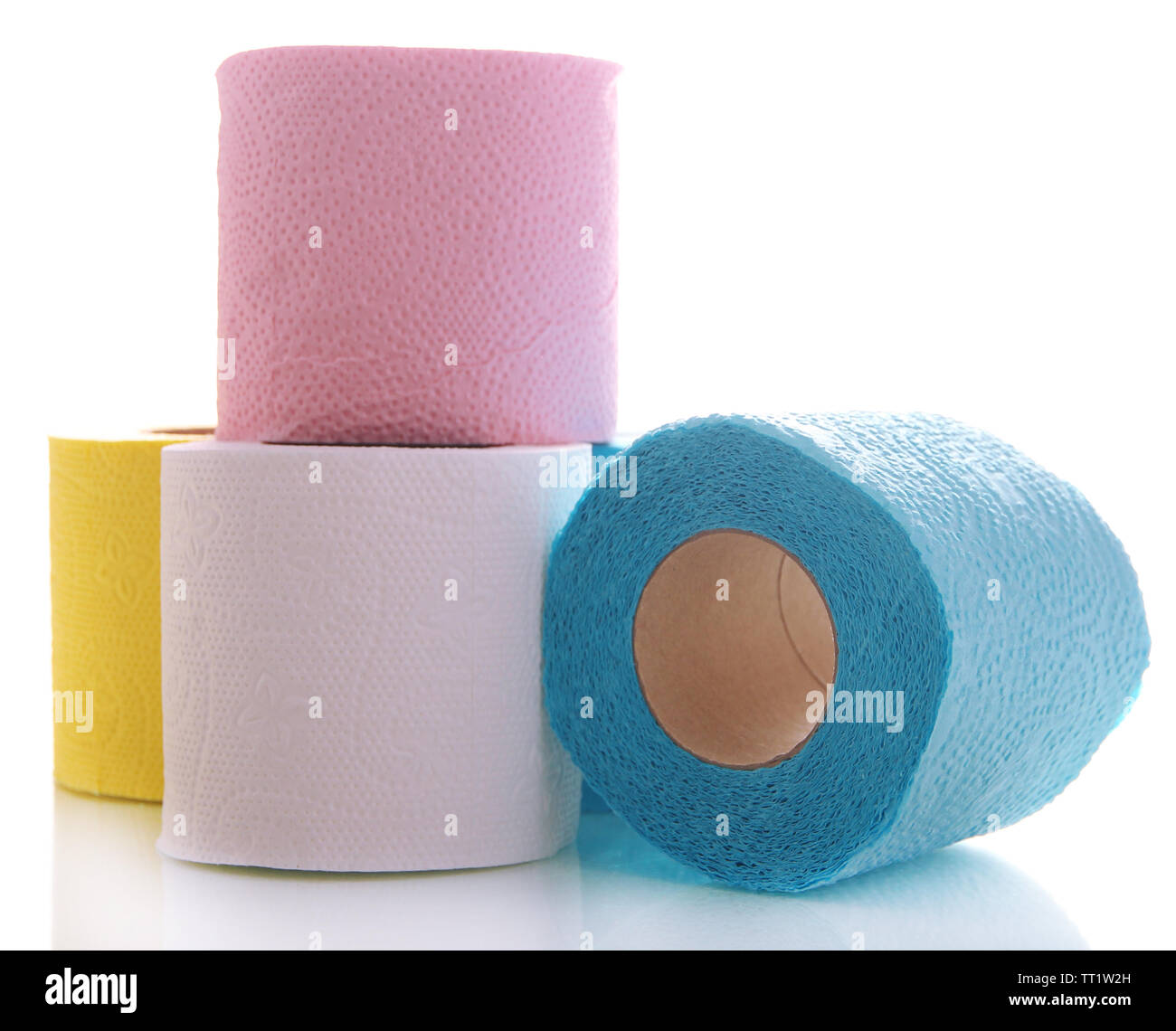 Colorful toilet paper rolls isolated on white - Stock Image