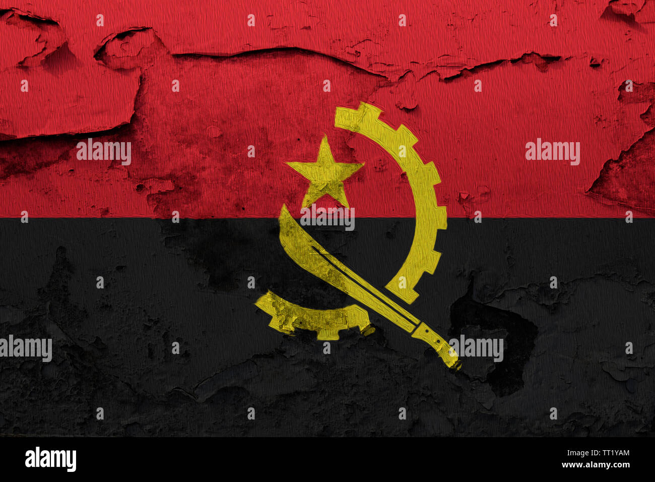 Angola flag painted on the cracked grunge concrete wall - Stock Image