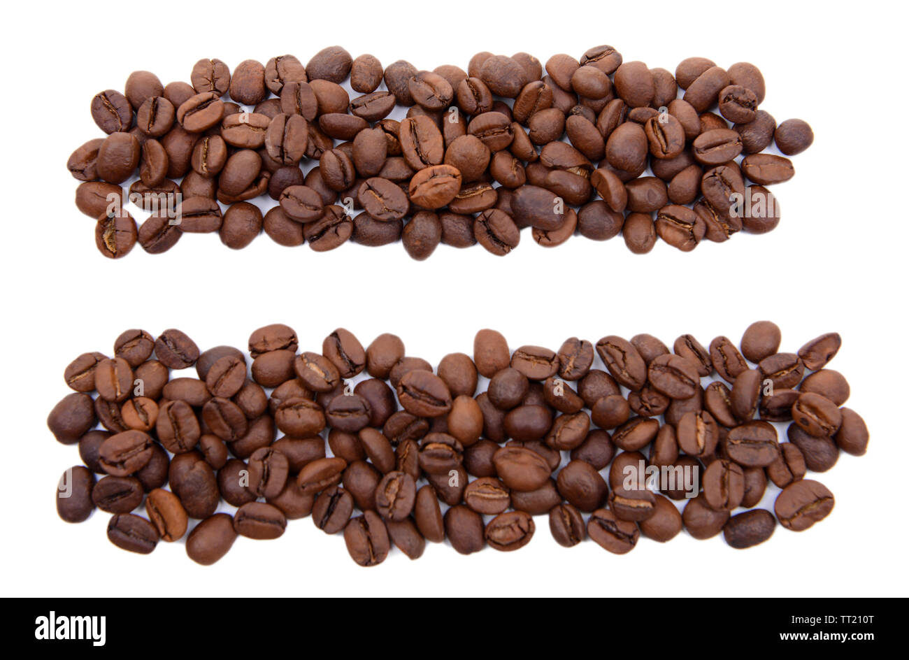 Equals sign of coffee beans isolated on white Stock Photo