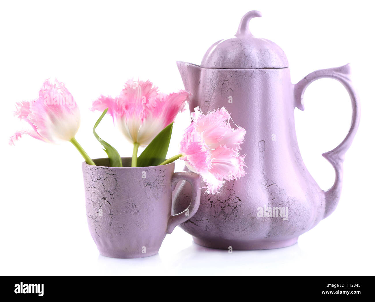 Cup of tea with teapot isolated on white - Stock Image