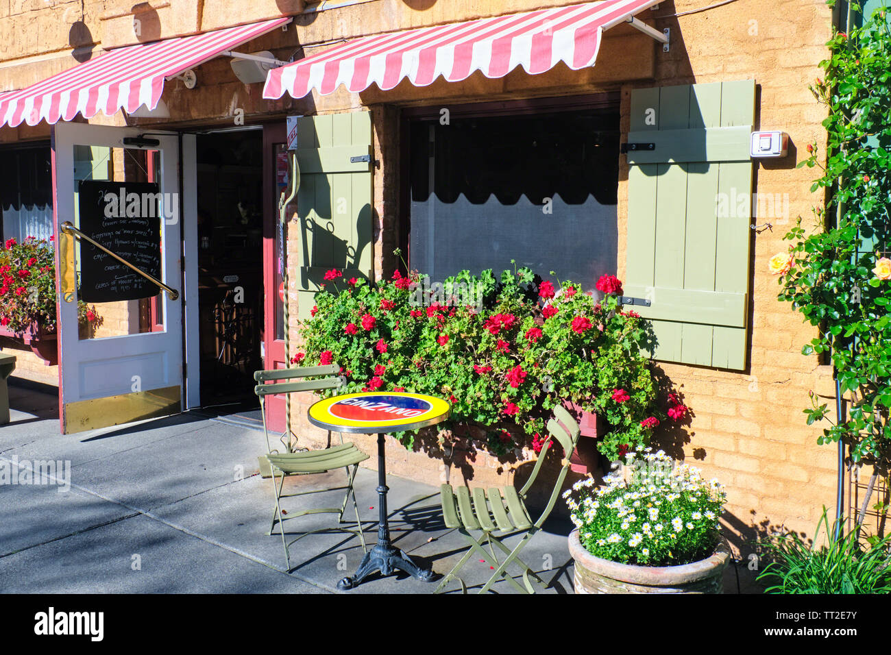 Entrance of a Traditional French Bistro, Yountville, Napa Valley, California Stock Photo
