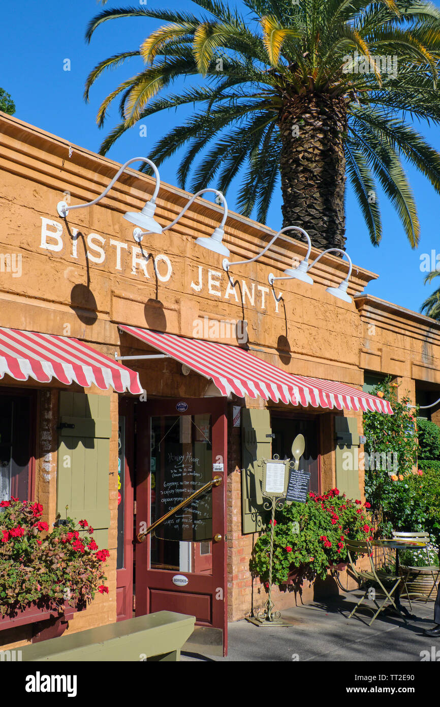 Entrance View of a French Restaurant, Bistro Jeanty, Yountville, Napa Valley, California Stock Photo