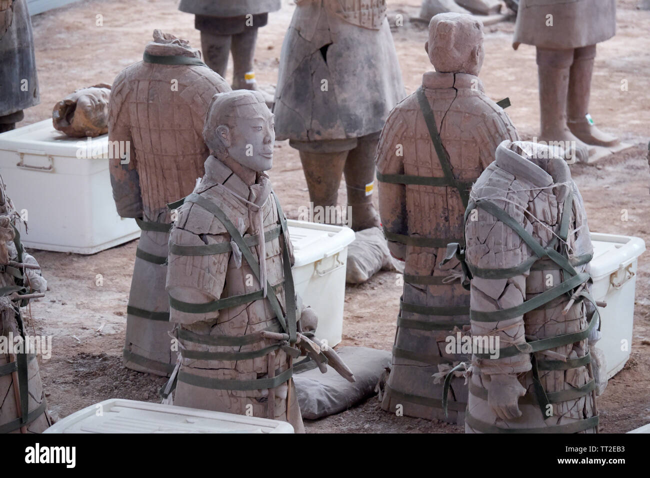 Close Up of  Clay Warriors Being Reconstructedb  Terra-Cotta Army of Emperor Qin, Xian, China Stock Photo