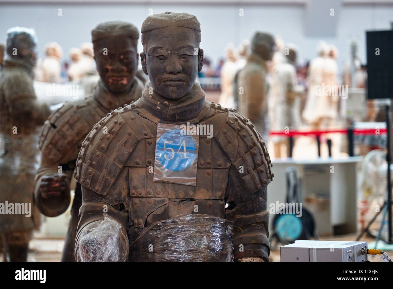 Terra-Cotta Warrior Close Up During Reconstruction, Xian, Shaanxi, China Stock Photo