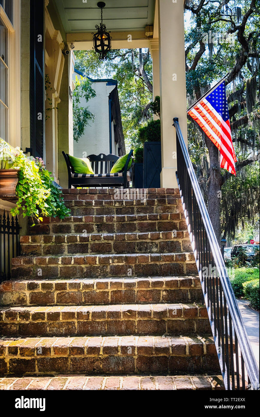 Low Angle View of a Traditional Southern Style House, Savannah, Georgia USA Stock Photo