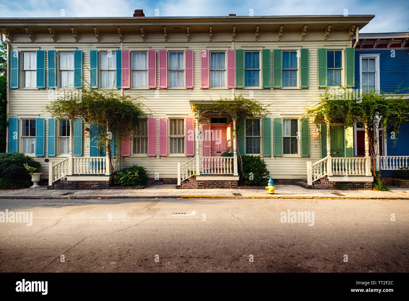 Colorful Historic Houses, Savannah, Georgia Stock Photo