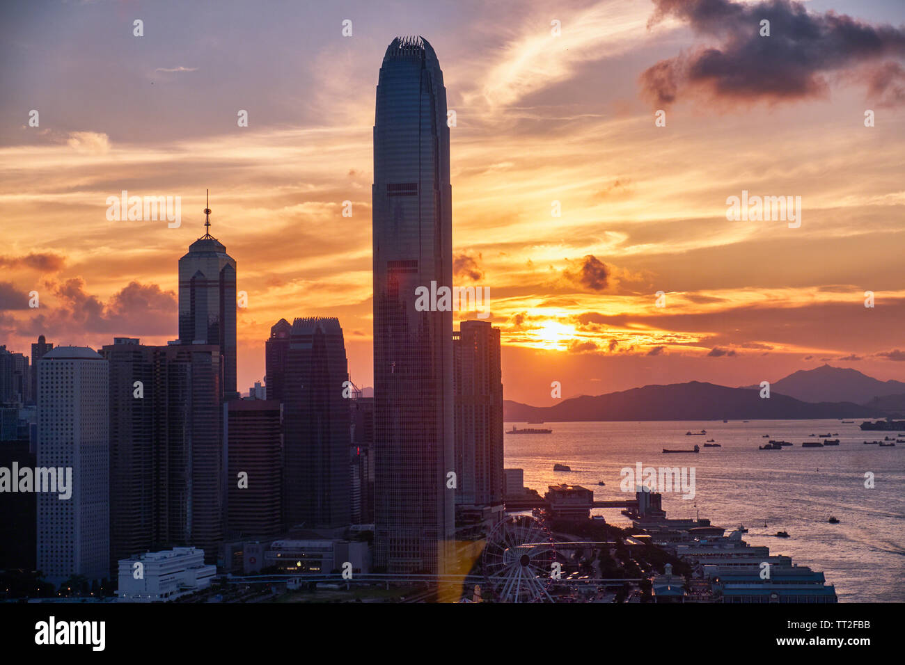 Skyscrapers of the International Commerce Center at Sunset, Hong Kong Stock Photo
