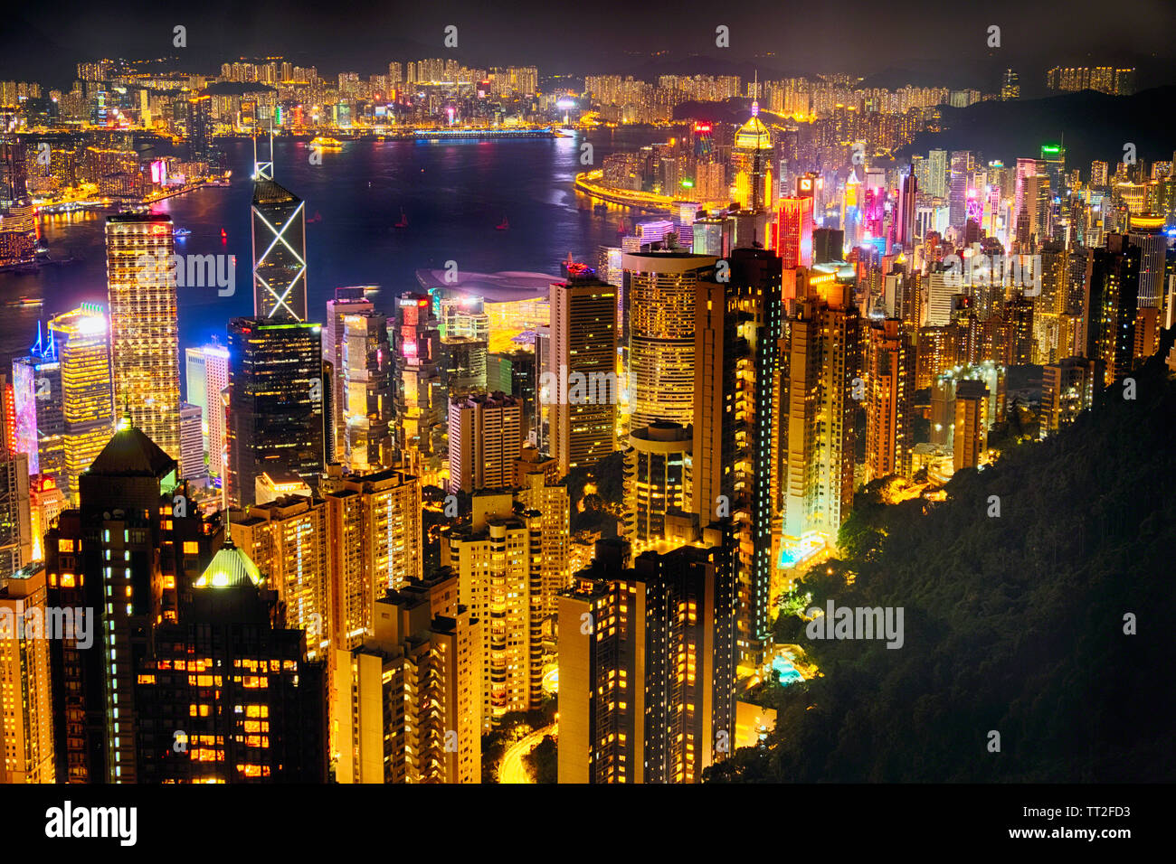 High Angle View of Hong KIong Nighjt Skyline from the Victoria Peak Stock Photo