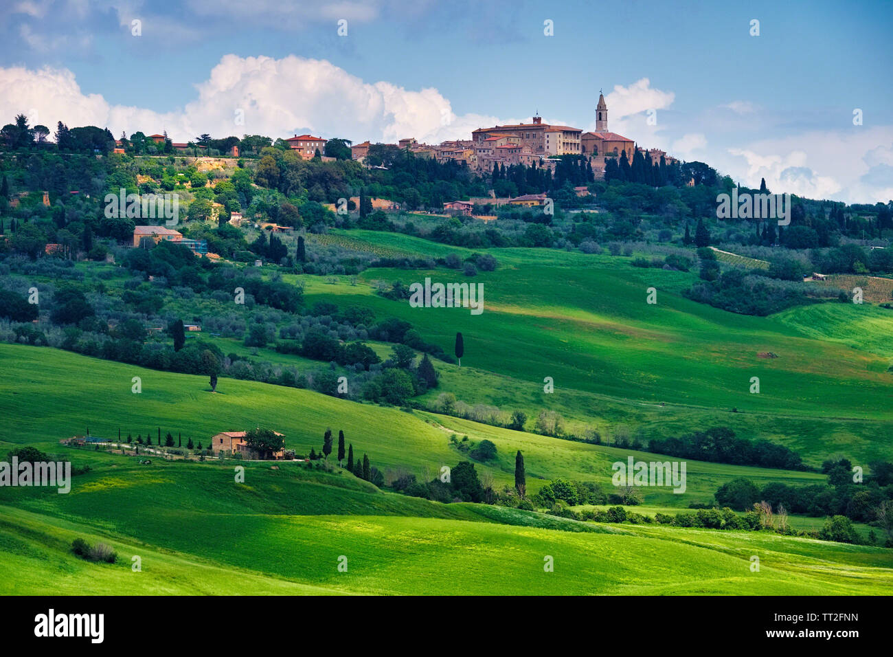 Low Angle View of Pienza in a Tuscan Countryside, Italy Stock Photo
