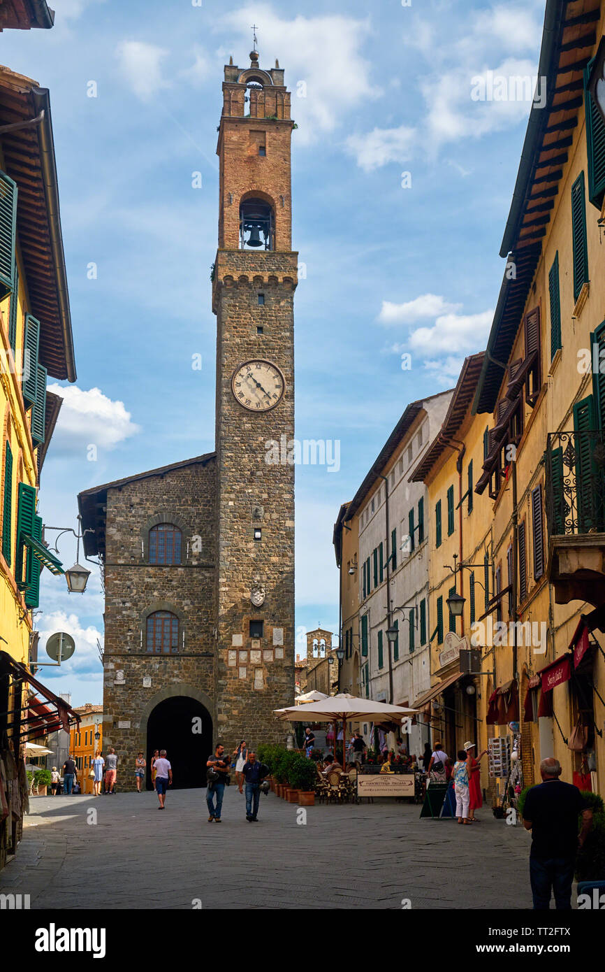 Piazza del Popolo with  Medieval Town Hall and Tower, Montalcino, Italy Stock Photo