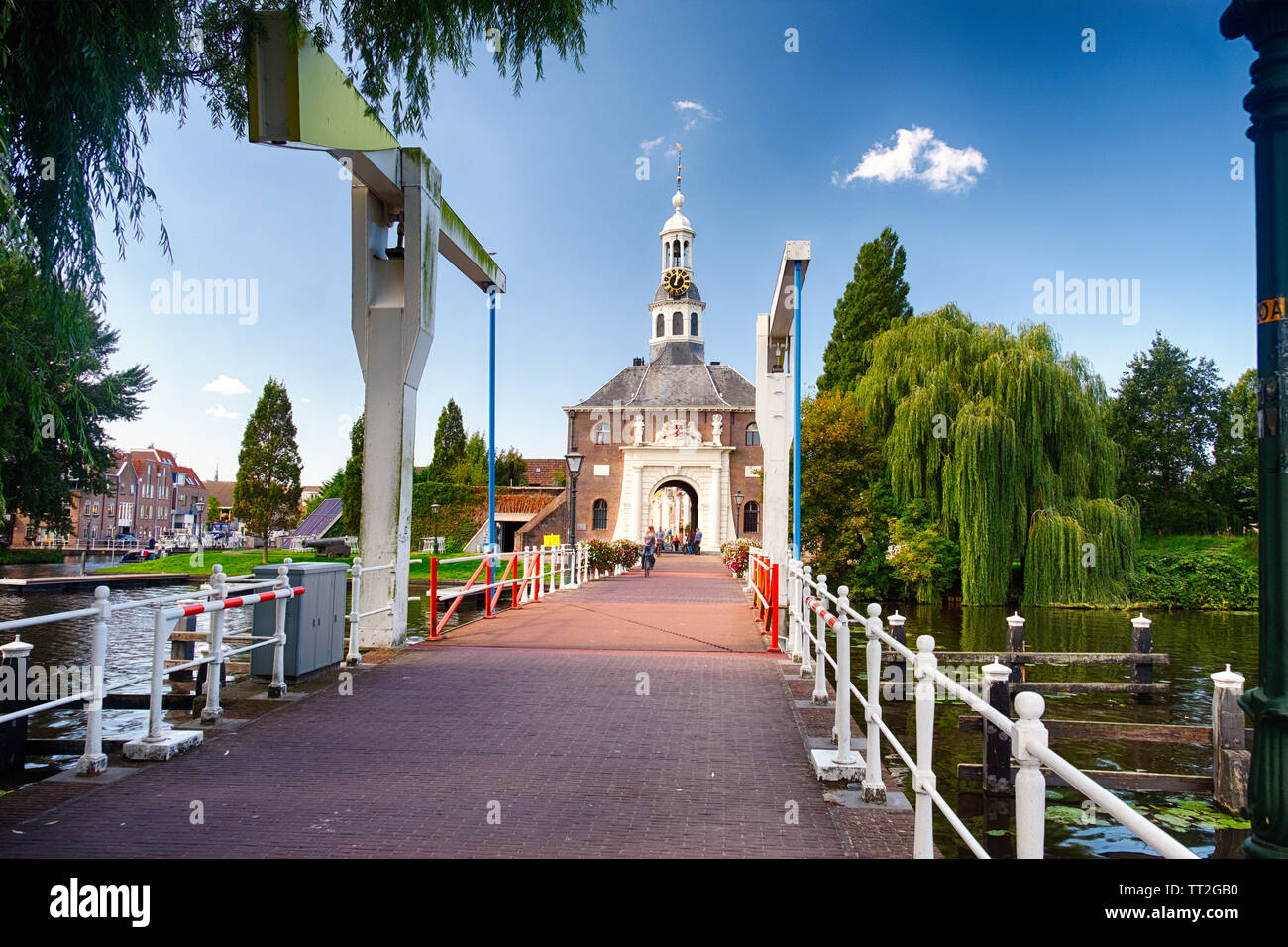 View of one of the  Zijlpoort City Gate in Leiden, South Holland, Netherlands Stock Photo