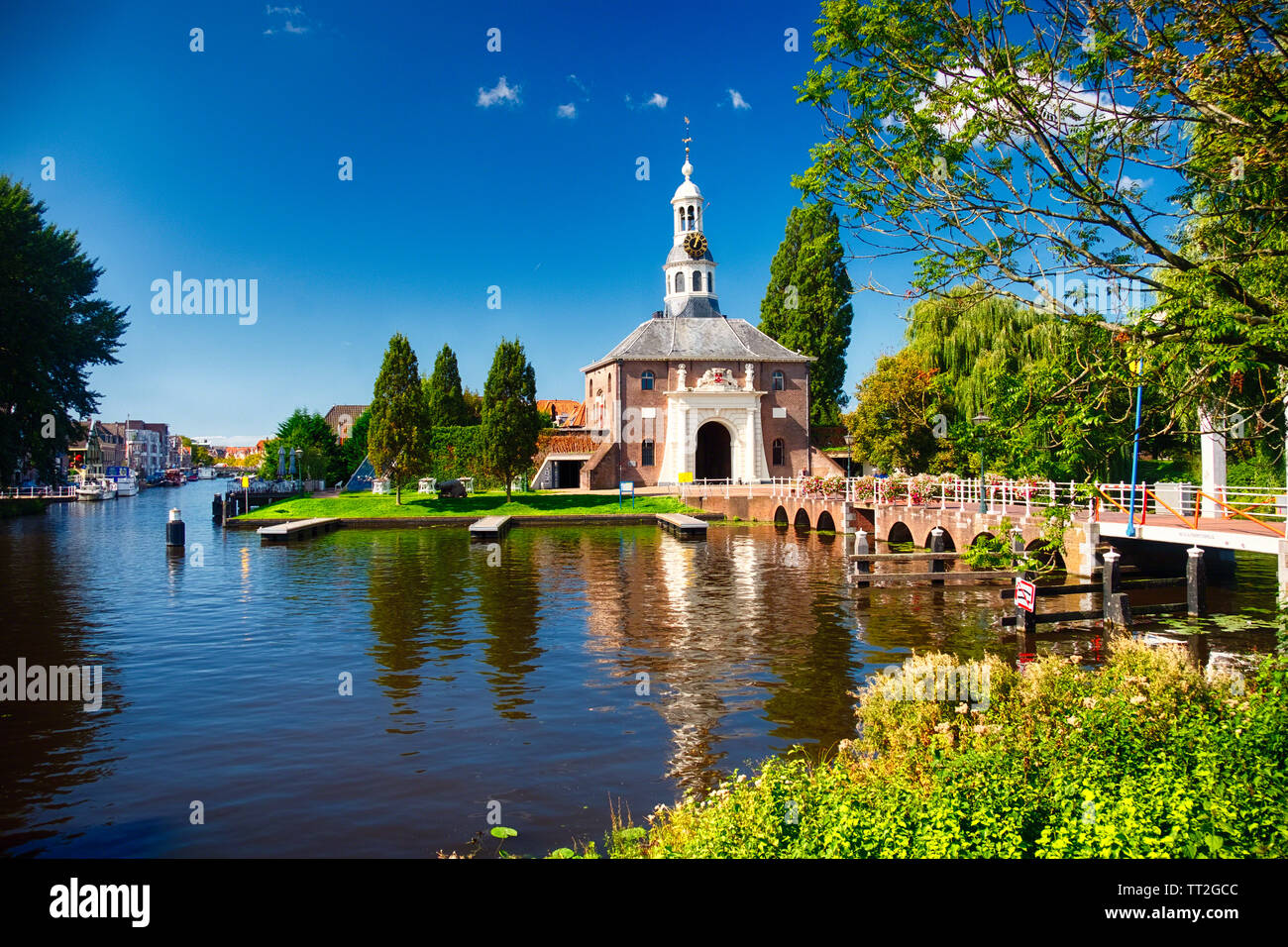 View of one of the Two remaining City gates of leiden the Zijlpoort, South Holland, Netherlands Stock Photo