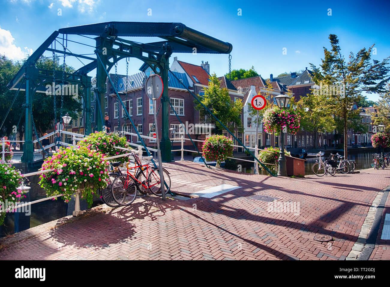 Drawbridge over a Canal, Leiden, Netherlands Stock Photo