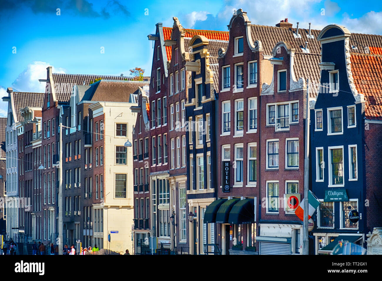 Row House Facades in Central Amsterdam., Netherlands Stock Photo