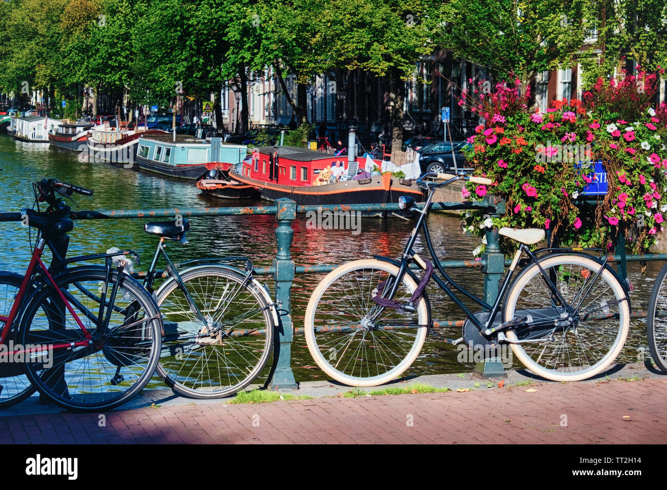 Classic Bicycles on a Bridge, Amsterdam, Netherlands Stock Photo