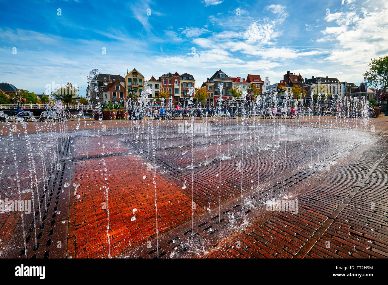 Close Up View of a Water Fountain on Beestenmarkt square, Leiden, South Holland Stock Photo