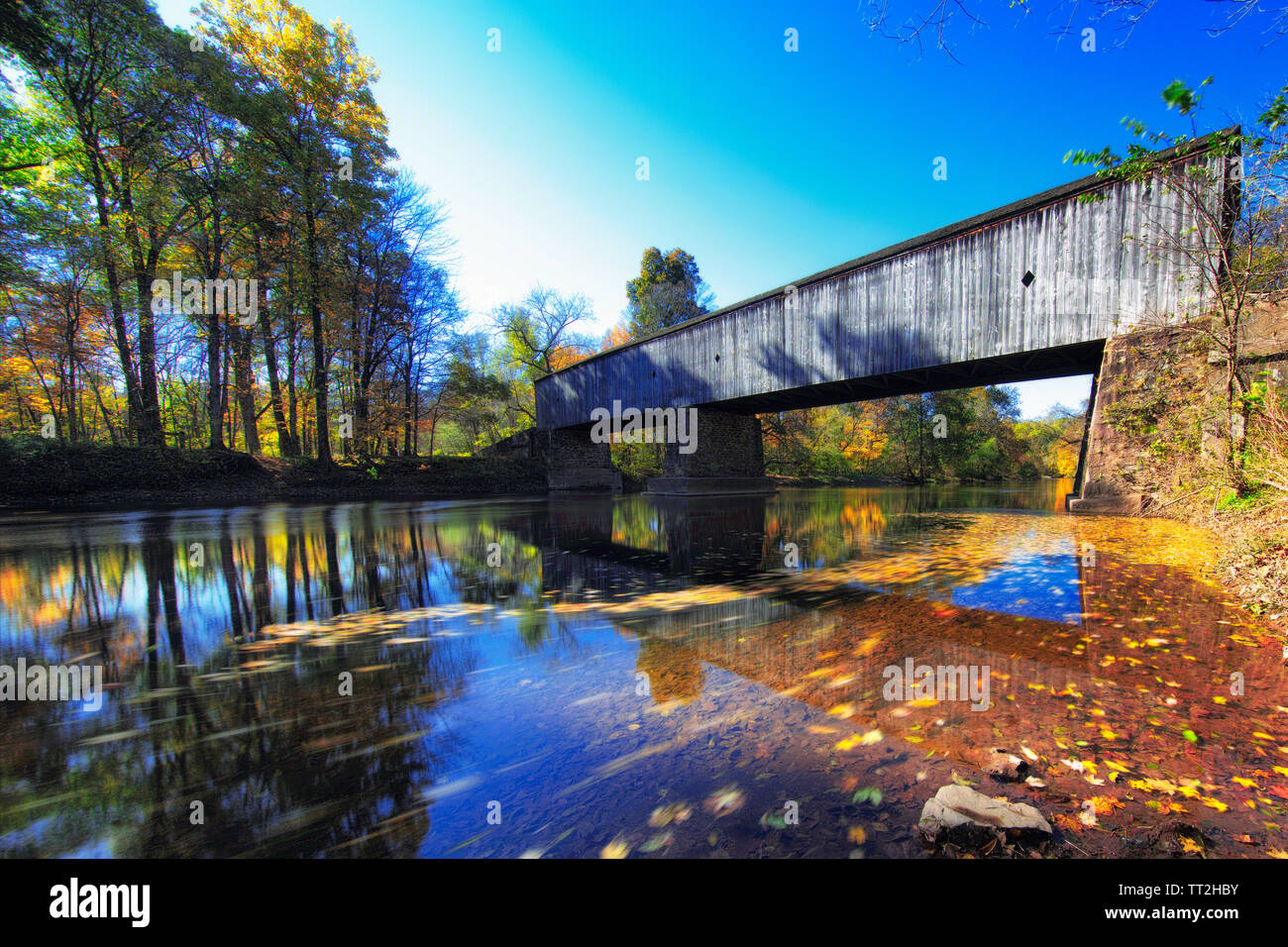 Low Angle View of the Schoefield Ford Covered Bridge, Newton, Pennsylvania Stock Photo