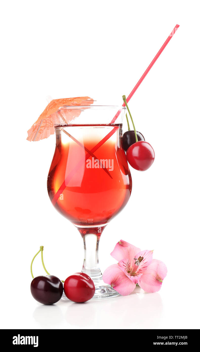 Refreshing cherry cocktail isolated on white - Stock Image