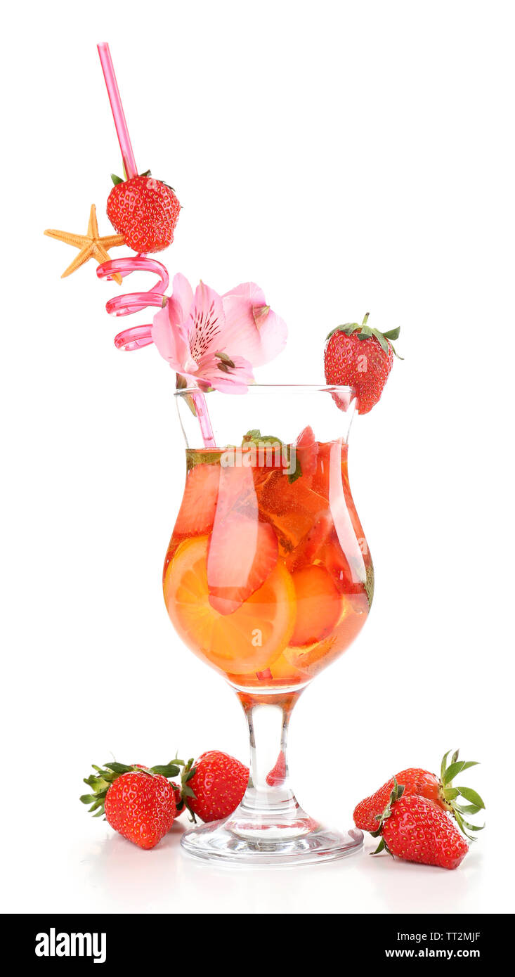 Refreshing strawberry cocktail isolated on white - Stock Image
