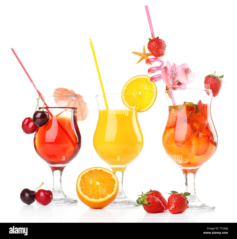 Refreshing fruit cocktails isolated on white - Stock Image
