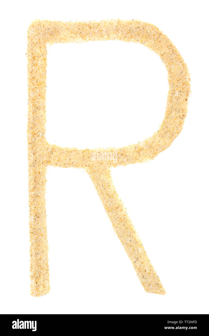 Sand letter isolated on white - Stock Image