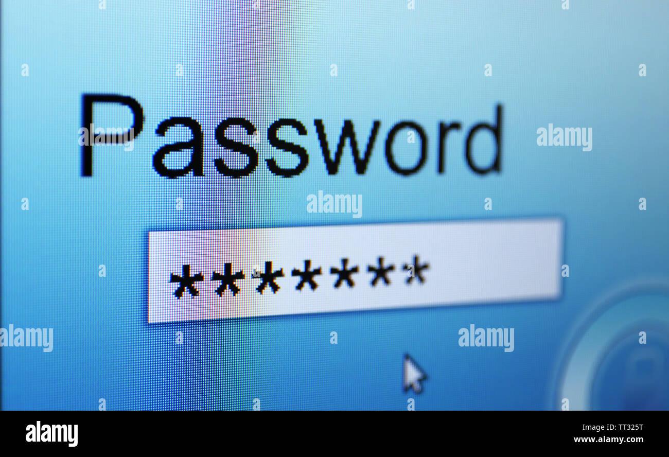 Password on monitor screen - Stock Image