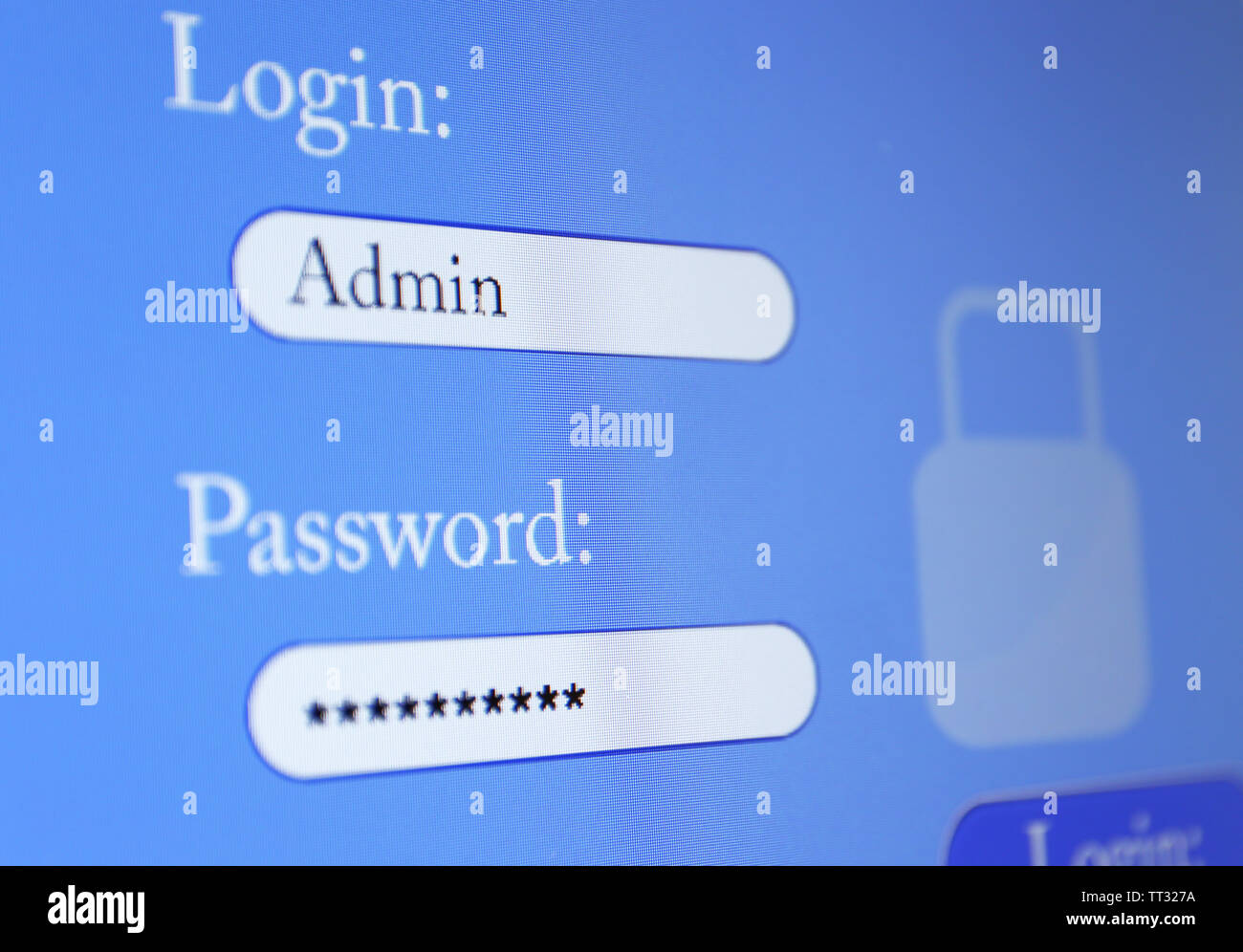 Login and password on monitor screen - Stock Image