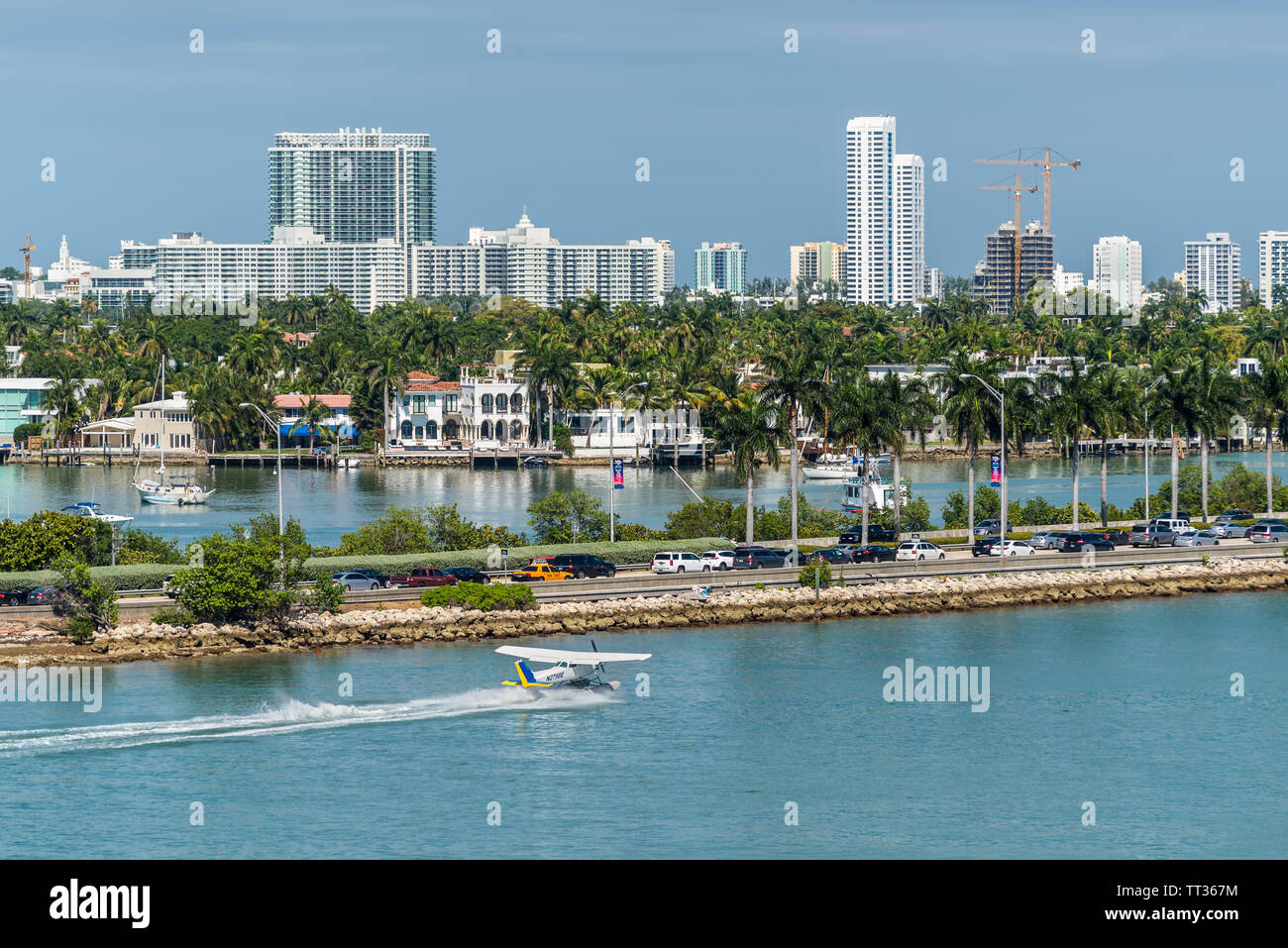 Miami, FL, United States - April 20, 2019:  View of MacArthur Causeway and Venetian Islands at Biscayne Bay in Miami, Florida, United States of Americ Stock Photo