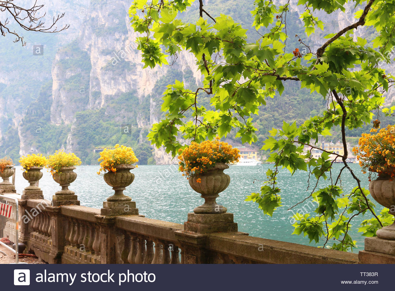 Alamy & Lovely antique flower pots at waterfront walkway in Riva at ...