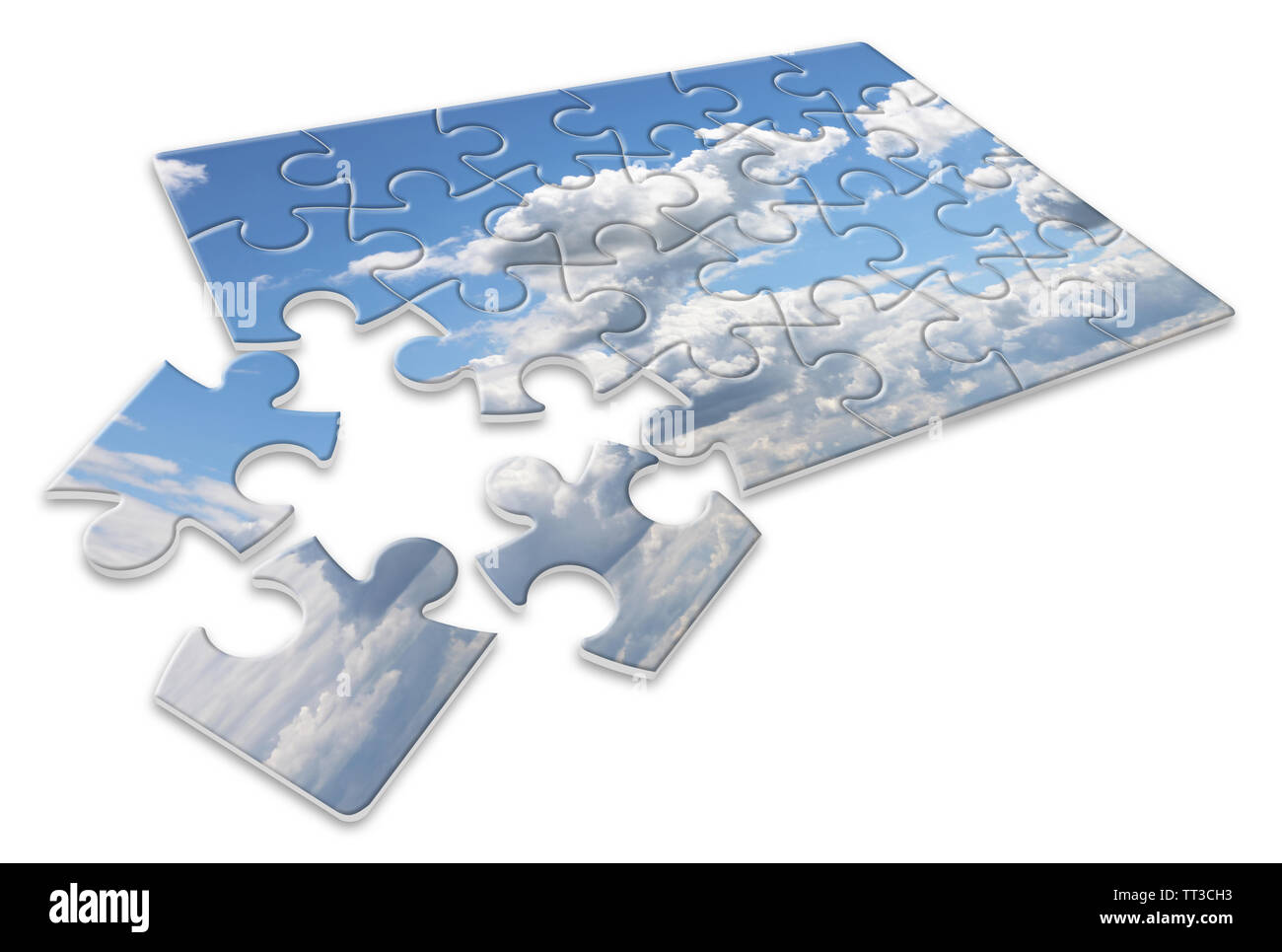 Climate changes; concept image with a cloudy sky in puzzle shape - Stock Image