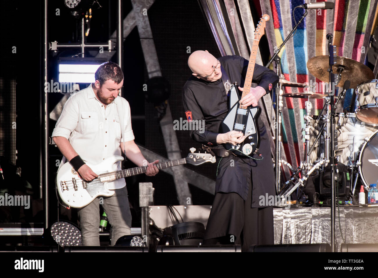 Billy Corgan, singer and guitarist of the American rock band Smashing Pumpkins, performing live on stage at the Firenze Rocks festival 2019 in Florenc - Stock Image