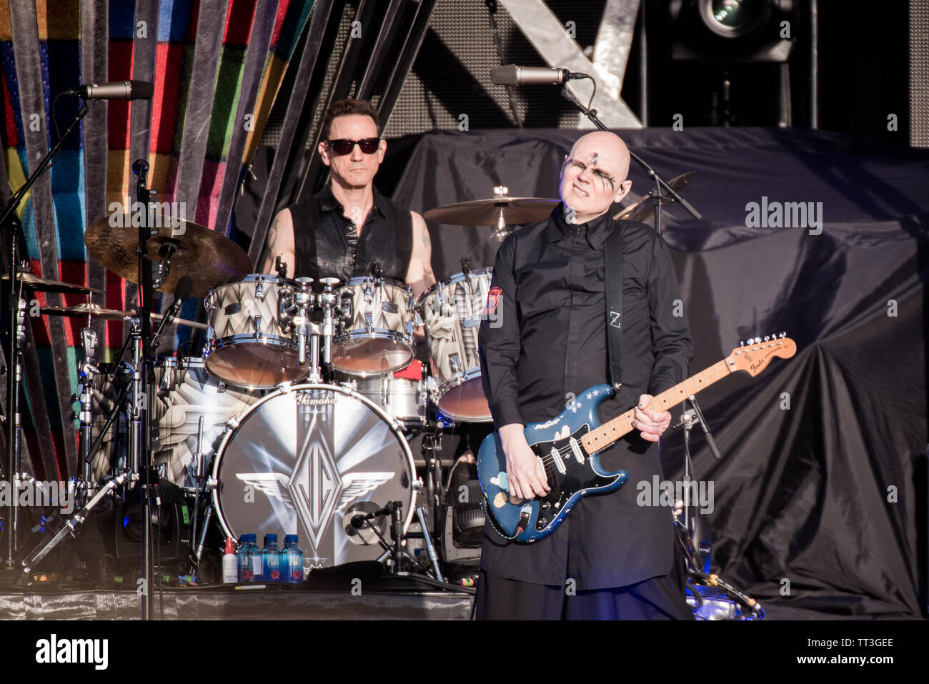 Billy Corgan and Jimmy Chamberlin of the American rock band Smashing Pumpkins, performing live on stage at the Firenze Rocks festival 2019 in Florence - Stock Image