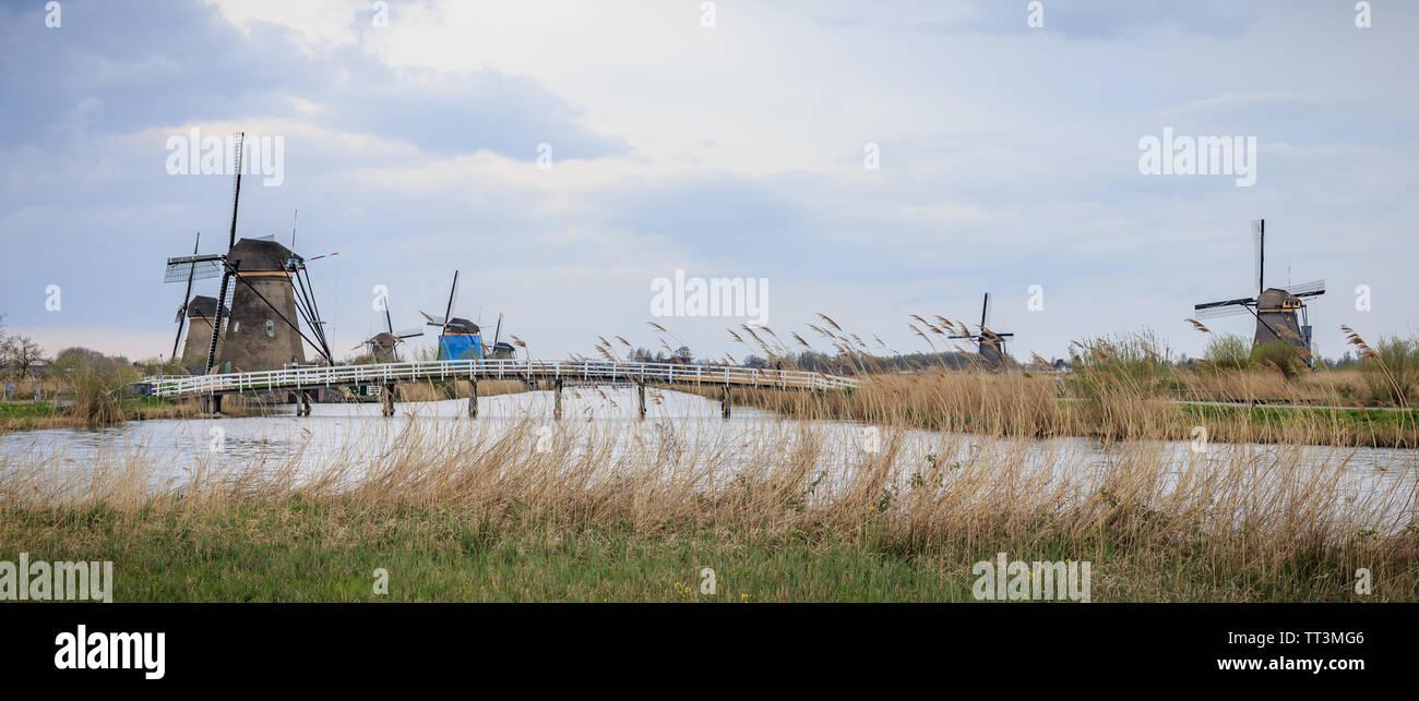 Unesco World Heritage Site; Windmills Of Kinderdijk, Netherlands - Stock Image