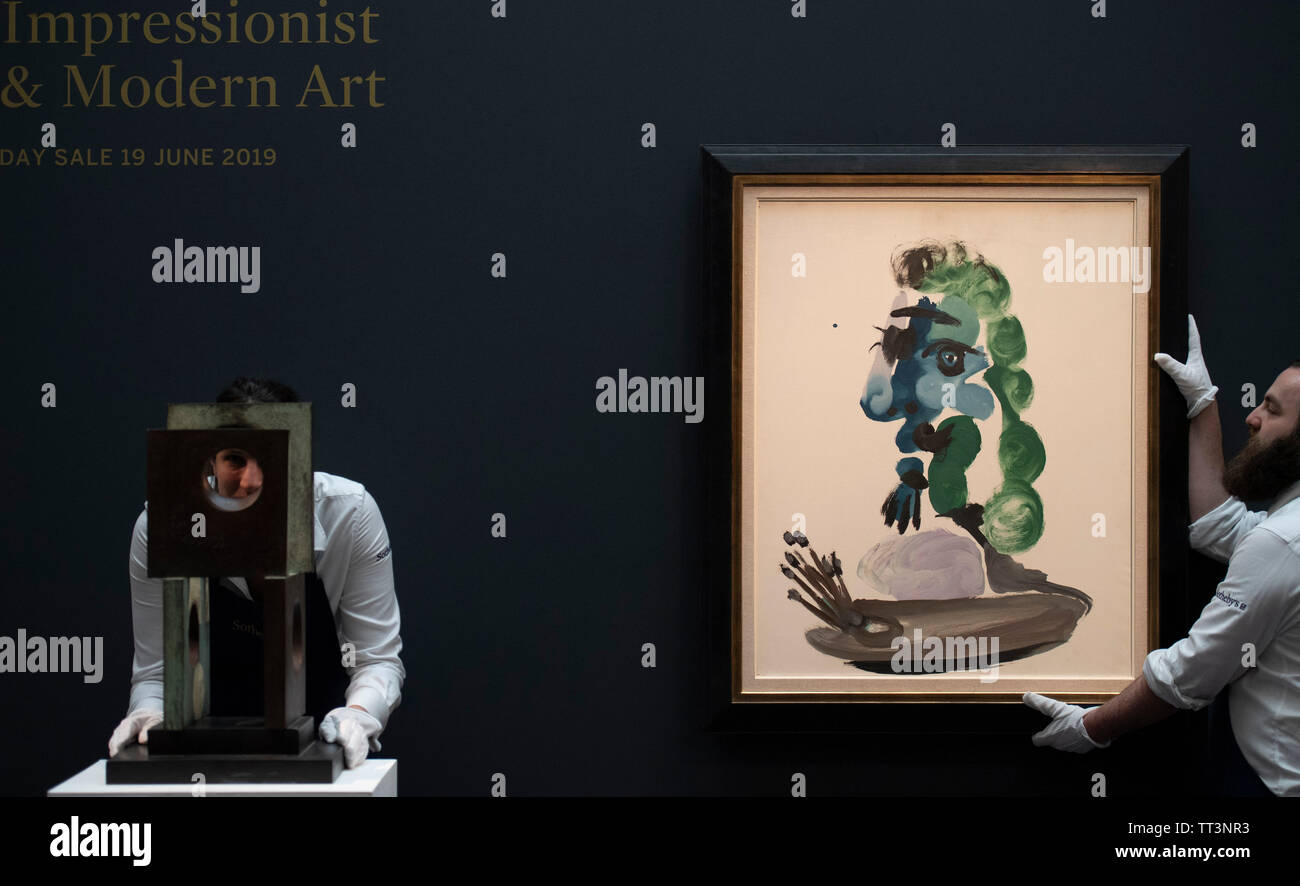 Sotheby's, London, UK. 14th June 2019. Major Impressionism to Modern British works, some unseen for decades, are previewed for the Sotheby's summer sale. Image: Sothebys art handlers with (left) Dame Barbara Hepworth, Four-Square (Four Circles), 1966, estimate £200,000-300,000 and (right) Pablo Picasso, Le Peintre. Bust de profil, 1967, estimate £1,000,000-1,500,000. Credit: Malcolm Park/Alamy Live News. - Stock Image