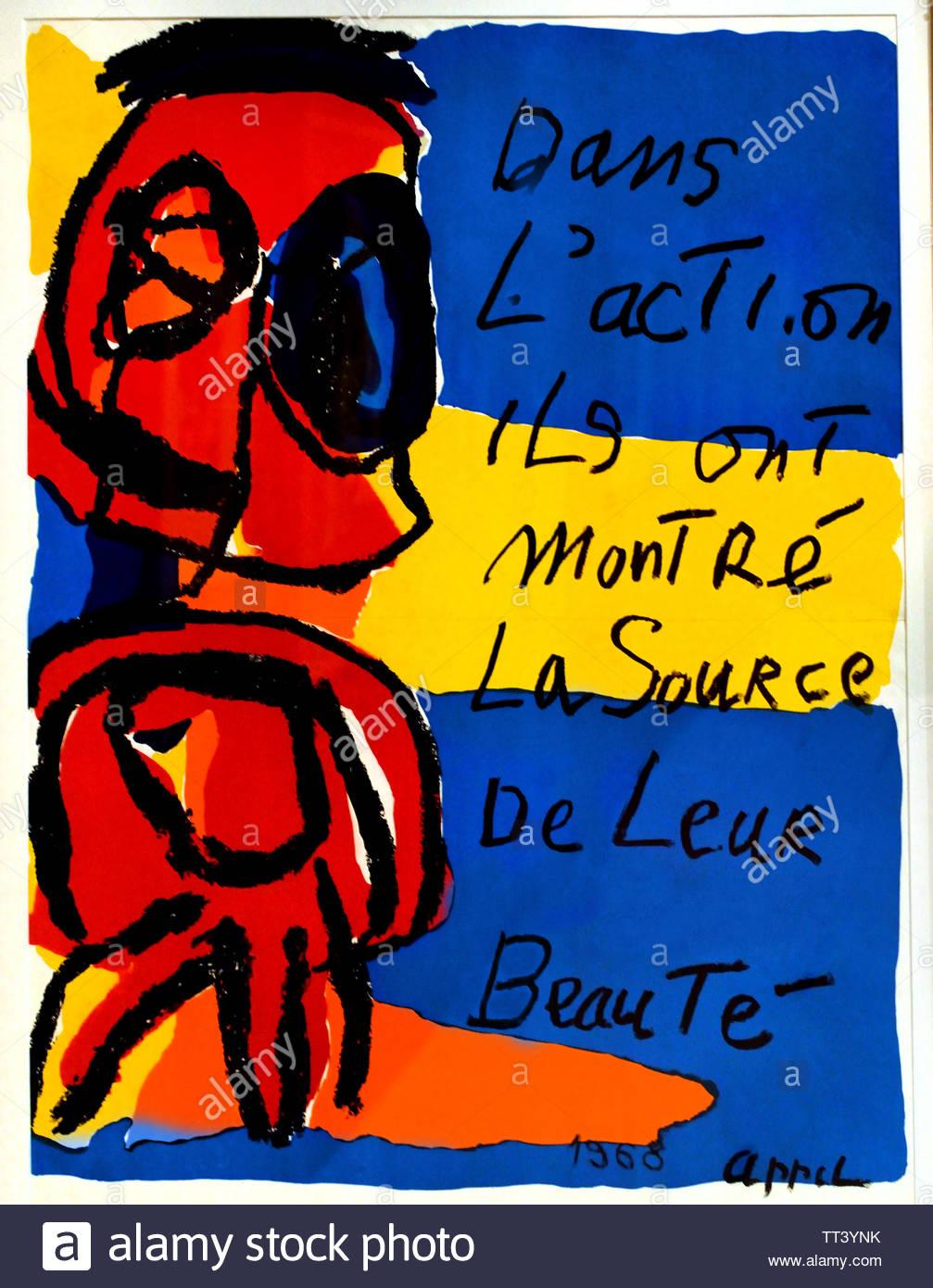 Dans L'Action ils ont montré La Source de Leur Beauté - In Action they showed The Source of Their Beauty by Karel Appel born in 1921 Dutch painter, (sculptor,  poet, Avant-garde movement Cobra), The, Netherlands. - Stock Image