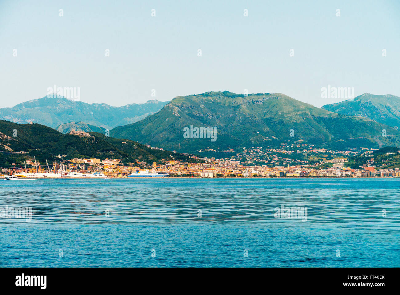 The city of Salerno, Italy, seen from the Gulf of Salerno Stock Photo