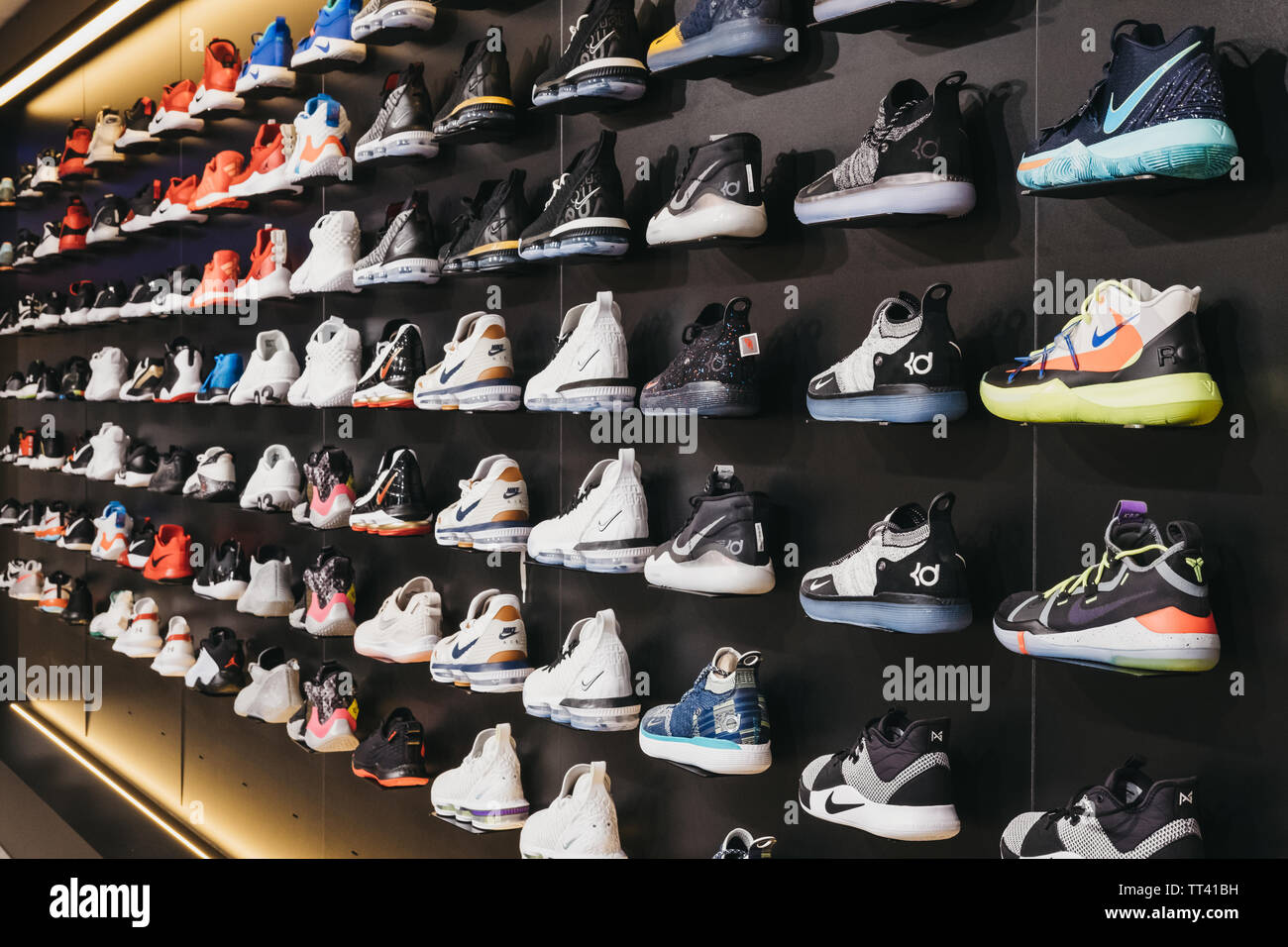 4cea5027dc4 Dommeldange, Luxembourg - May 18, 2019: Variety of basketball shoes on sale  inside
