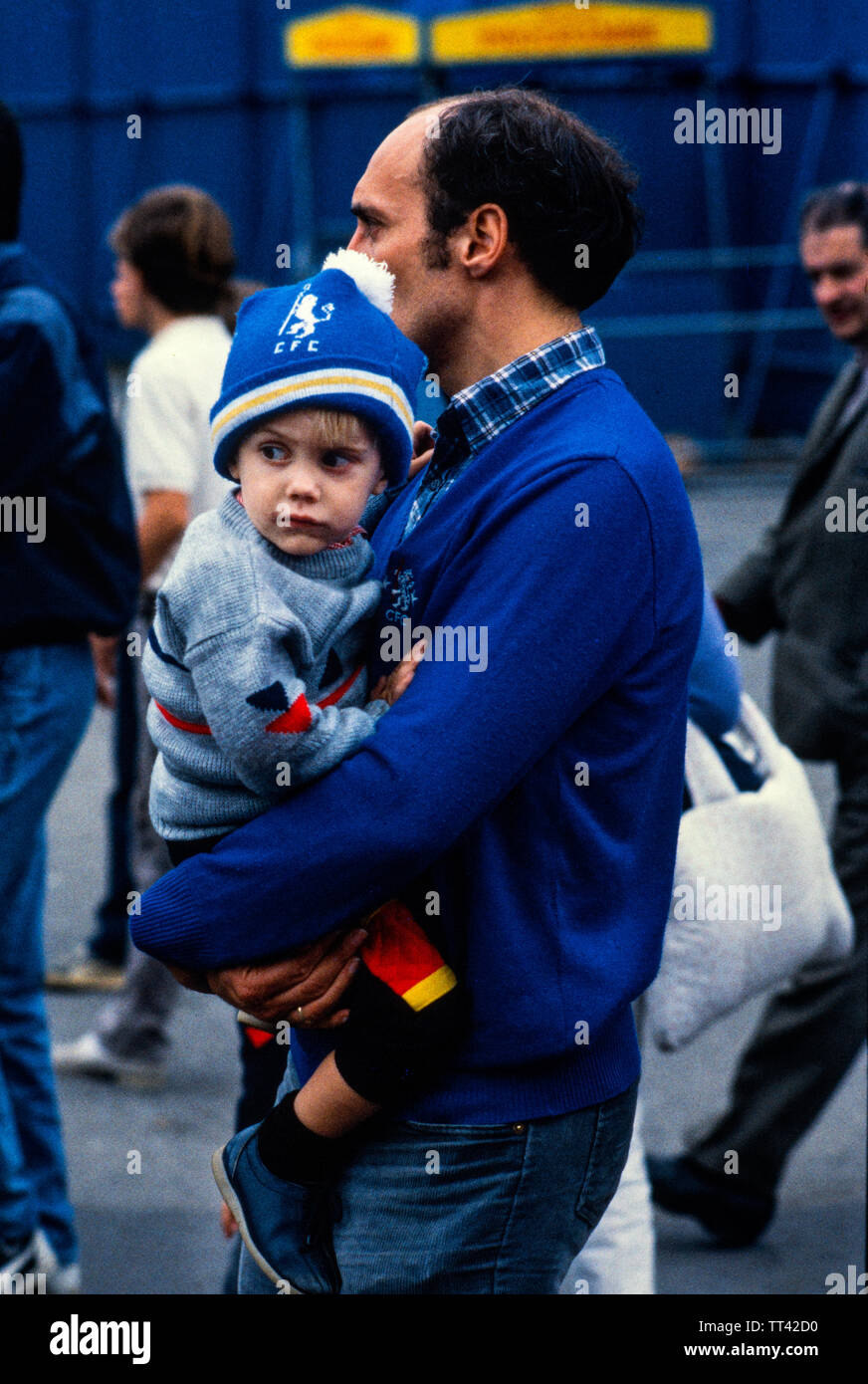 Chelsea FC supporters at Chelsea V Millwall football match 4 February 1985 at Chelsea, London England. 4 Feb 1985 Stock Photo