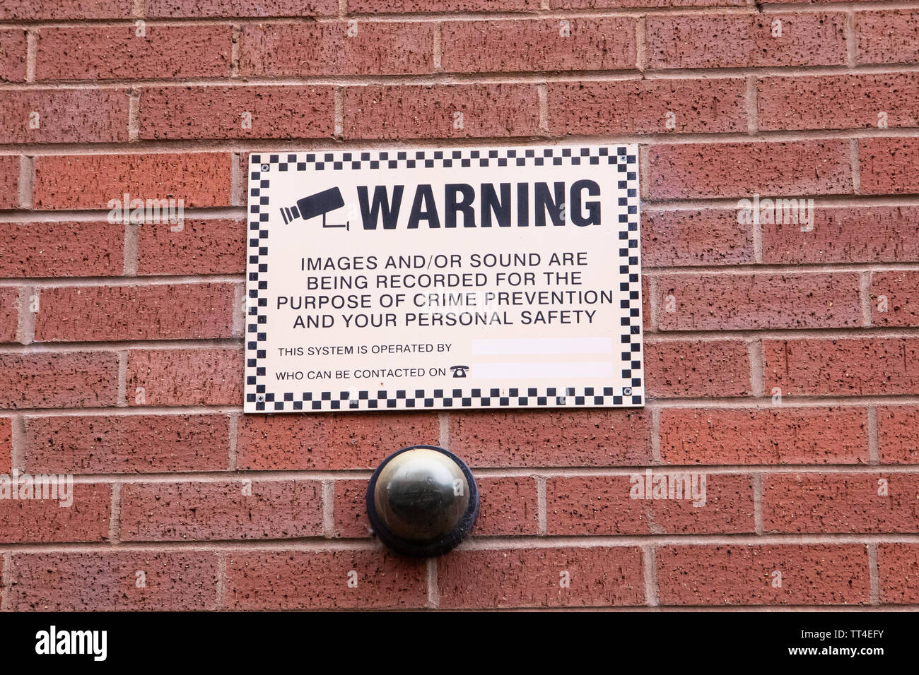 Dome Camera and CCTV Warning Sign - Stock Image