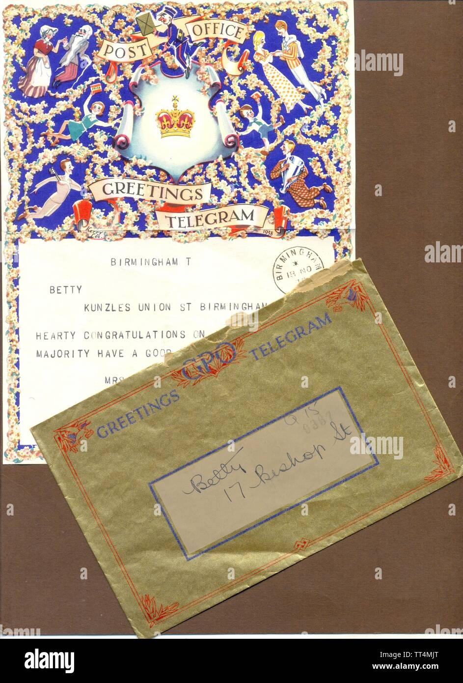 GPO Greetings Telegram for general use by Kerry Lee 1938 with original envelope - Stock Image